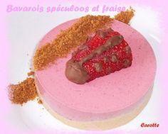 Recette bavarois fraise et speculoos par Caroline : Mon entremets de Pâques..Ingrédients : sucre, crème fraîche, fraise, agar agar, mascarpone