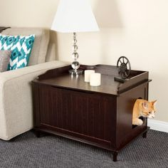 This is perfect for the hallway! And not as expensive as others I was looking at. Designer Pet Products Designer Catbox Litter Box Enclosure- Espresso - PetSmart