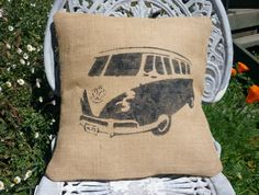 VW CAMPERVAN HESSIAN CUSHION COVER