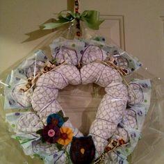 Diaper Wreath by Delia :) Diaper Wreath, Door Accessories, Burlap Wreath, Hanukkah, Wreaths, Shower, Pretty, Baby, Home Decor