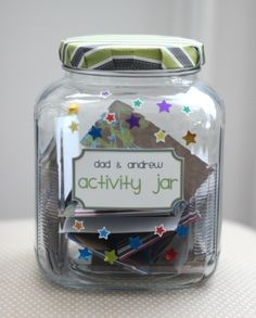 3 Quick and Crafty Father's Day Gift Ideas-jar with free/cheap time gifts for kids to do with dads