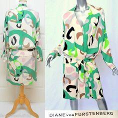 Diane von Furstenberg Tie-Front Wrap Camo Silk Dress!   SOLD!