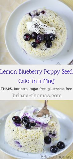 Lemon Blueberry Poppy Seed Cake in a Mug.THM:S, low carb, sugar free, gluten/nut free I picked this because I do tend to like blueberry muffins sometimes but I love Poppy Seed muffins so I figured this would be good to try. Low Carb Sweets, Low Carb Desserts, Healthy Sweets, Low Carb Recipes, Healthy Recipes, Atkins Recipes, Bariatric Recipes, Healthy Dishes, Healthy Foods