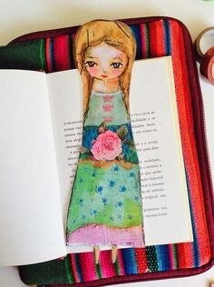 Gipsy woman girl sweet bookmark art illustration folk green pink flower papergoods