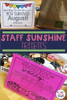 FREE Staff Sunshine Treat Signs Are you on your school's sunshine committee and looking for ideas? These fun treat signs will help build a positive atmosphere in your school…and best of all, they're free! Back To School Teacher, School Staff, Back To School Gifts, School Counselor, Sunday School, Teacher Morale, Staff Morale, Teacher Treats, Teacher Gifts