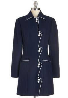 Dock About It Coat. Even in the cooler temps, the shoreline streets buzz about the girl parading around in this unique navy-blue coat by Alice's Pig! Blazer Fashion, Suit Fashion, Women's Fashion Dresses, Batik Blazer, Blouse Batik, Coats For Women, Jackets For Women, Vintage Style Outfits, Vintage Fashion