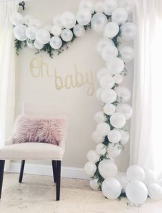 Balloon Arch! Baby shower gift opening backdrop