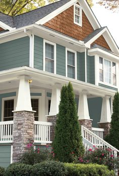 Behr 2018 Color Of The Year House Paint Exterior Exterior pertaining to Exterior Paint Color 2018 - Home Design Ideas Best Exterior House Paint, Exterior Paint Schemes, Exterior House Colors, Exterior Design, Behr Exterior Paint Colors, Craftsman Exterior Colors, Craftsman Style, Craftsman Columns, Stone On House Exterior