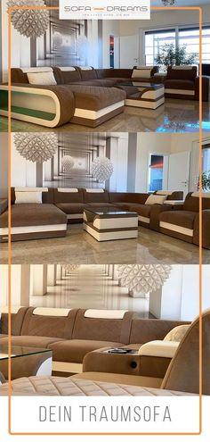 Das Luxus Sofa Berlin gehört zu den XXL Möbeln und besticht durch sein einzigartiges Design. Die Wohnlandschaft ist perfekt geeignet für jedes moderne, luxuriöse und gemütliche Wohnzimmer. Es vereint Stil und Komfort. Die Luxus Couch ist in braun weiß ist auch in weiteren Farbkombinationen erhätlich. Finde dein Traumsofa bei Sofa-Dreams! #sofa #wohnlandschaft #wohnzimmer