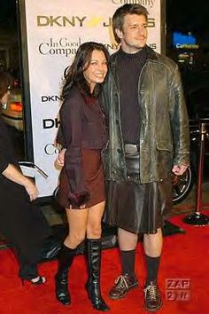 """Nathan Fillion (star of TV shows """"Firefly"""" and """"Castle""""), wearing a leather kilt at the premier of """"In Good Company"""", 6Dec2004."""