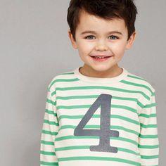 Bob & Blossom Gooseberry & Cream Striped Number T Shirt | MonkeyMcCoy