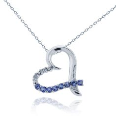 This shimmering necklace highlights the dramatic blue hues of tanzanite gemstones set on one side of this heart pendant. Accented with one white diamond, the faux pave design adds much charm to this finely crafted sterling silver necklace.