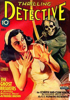 THRILLING DETECTIVE | pulp cover terror crime vintage art