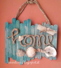 Handmade Home Decor Kids Crafts, Diy Home Crafts, Decor Crafts, Seashell Crafts, Beach Crafts, Summer Crafts, Diy Para A Casa, Diy Popsicle Stick Crafts, Popsicle Sticks