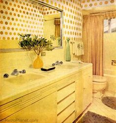 Bright Yellow 1960s Bathroom Design