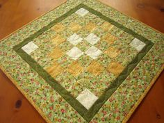Quilted Table Topper Dainty Flowers