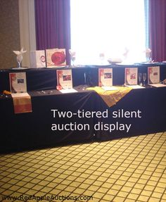 Charity auctions that include a silent auction component might opt for two tier displays #SilentAuctionDisplayTips Fundraiser Baskets, Raffle Baskets, Fundraiser Raffle Ideas, Theme Baskets, Gift Baskets, Silent Auction Baskets, Silent Auction Donations, Silent Auction Bid Sheets, Auction Items