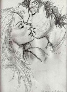 Kiss Sketch of Boy and Girl By ZiZinG.blogspot.com