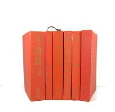 Orange Decorative Books Vintage Photo Props