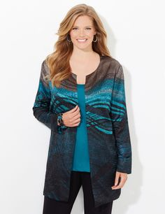 Wavepool Reversible Jacket | CatherinesThis beautiful sweater is covered in an allover, abstract animal print. The herringbone construction features an open-knit design that makes up the comfortable stretch fabric. Openfront. Three-quarter sleeves. Side slits at hem. Catherines tops are perfectly proportioned for the plus size woman. #catherines #plussize #plussizefashion #fallfashion