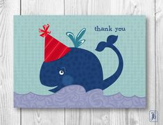 Thank You Note Cards | Blue Whale Thank You Notes | Birthday Thank You Note Cards