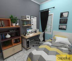 Image may contain: bedroom and indoor Bedroom Bed Design, Home Room Design, Small Room Bedroom, Modern Bedroom, Decor Interior Design, Minimalist House Design, Minimalist Bedroom, Minimalist Home, Small Space Design