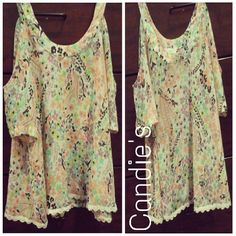 *PRICE FIRM* Juniors floral blouse Floral / see through / open shoulder Candie's Tops Blouses