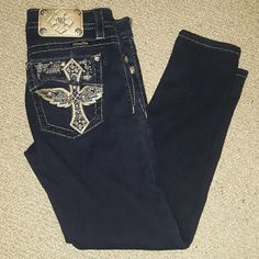 MISS ME JEANS size 28 inseam 28 Used once dark blue skinny crop  Super strech fabric great condition used for about 3hrs Miss Me Jeans Skinny