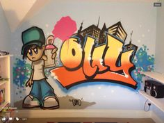 Ollys fab bedroom graffiti mural. Designed & Created by our decorator, covering and working throughout the East Midlands..