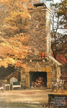 Giant backyard fireplace.  Want.