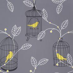 Arthouse Opera Aviary Grey & Yellow Wallpaper   Departments   DIY at B&Q