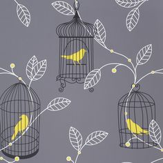 Arthouse Opera Aviary Grey & Yellow Wallpaper | Departments | DIY at B&Q - Not normally a fan of yellow, and yet...