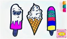 Spring is here, but summer is not far away! Let's get ready for the heat and draw a selection of yummy popsicles/ ice cream. Are your mouths watering yet?! 😃
