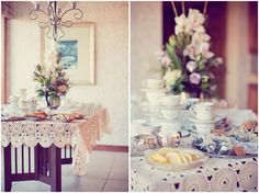 cute page with photos of a vintage tea party baby shower. The earthy tones are really pretty.