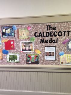 "Caldecott Medal Board. My 1st grade students review each book and write a ""teaser"" on a speech balloon for passers by as a kind of book recommendation. A great reading and writing activity!"