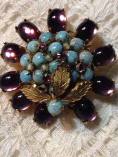 Vintage Robert DeMario NY New York Purple, Aqua & Goldtone Leaves Brooch Signed