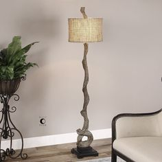 The Moses Floor Lamp is made of a weathered driftwood finish with a matching finial and a matte black base. The round drum shade is burlap twine with an open weave construction and a beige inner liner. Dimensions: Lamp- X Driftwood Flooring, Driftwood Furniture, Driftwood Lamp, Driftwood Projects, Driftwood Ideas, Modern Pictures, Grey Wood, Weathered Wood, Drum Shade