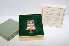 Vintage 1970's Avon Jewelled Owl Pin by SharelliTradingCo on Etsy