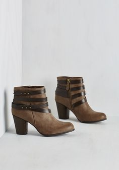 Tried and Troubadour Bootie in Mocha. On the hunt for a pair thats proven to prance like pure poetry? #tan #modcloth