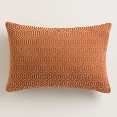 accent pillow/perhaps for chair.  Rust Orange Geo Chenille Lumbar Pillow | World Market