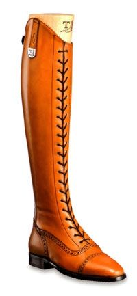 Franco Tucci -GINA Tall boot in tan leather with front elastic shoelace closing, French punch hole design and back zipper.