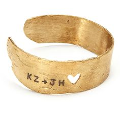 Personalized gold cuff with heart and initials