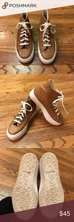 """ASOS Brown High tops Brown Faux leather woven high tops w/ a 1.25"""" white rubber sole. Size 6. Super cute & funky!!😉 Pre owned & in great condition! ASOS Shoes Sneakers"""