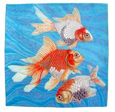 """Fancy Goldfish"" by  Susan Brubaker Knapp Mooresville, North Carolina. Wholecloth painted, free-motion machine thread sketched and quilted.  Alliance for American Quilts."