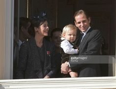Princess Caroline of Hanover, Sacha Casiraghi and Andrea Casiraghi greet the crowd from the palace's balcony during the National Day Parade as part of Monaco National Day Celebrations on November 19, 2014 in Monaco, Monaco.