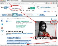 """So, here I am working on an article for 60-seconds, so I go to the Legal Dictionary to get the actual definition of """"False Advertising"""" . . . low and behold, look what happens -- just as the article describes, GOOGLE actually purveys ANOTHER false advertisement to me!   How ironic is that.  This ad from Google has absolutely NOTHING about Harrisonburg or the people there whatsoever!  It's just plain false advertising!  DO NOT CLICK . . . #falseadvertising #google #clickfraud"""