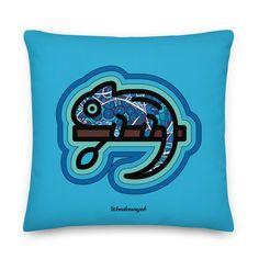 Kissen • kunterbuntes Chamäleon – blau • Design Samba, Pillows, Art, Peace Dove, Pillow Design, Blue Design, Ghosts, Kunst, Art Background