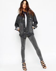 Immagine 4 di ASOS - Giacca girlfriend di jeans nera slavata
