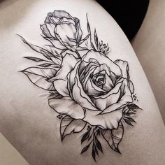 Tattoo shared by zihwa_tattooer. Rose Rib Tattoos, New Tattoos, Tattoos For Guys, Chest Tattoo, Arm Tattoo, Clever Tattoos, Beautiful Flower Tattoos, Feminine Tattoos, Skin Art