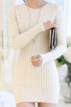Stylish Long Sleeves Solid Color New Warm Autumn and Winter Sweater Dress For Women White Bright Haute Couture Women Fashion Rare Nice Beautiful Pretty Classy Vintage Style Girl Chic Stylish Inspiration Idea European Wear Clothing Casual Awesome Cool Gorgeous Outfit Look Sexy Street